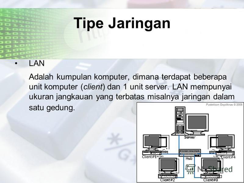 Tipe Jaringan LAN Adalah kumpulan komputer, dimana terdapat beberapa unit komputer (client) dan 1 unit server. LAN mempunyai ukuran jangkauan yang terbatas misalnya jaringan dalam satu gedung.