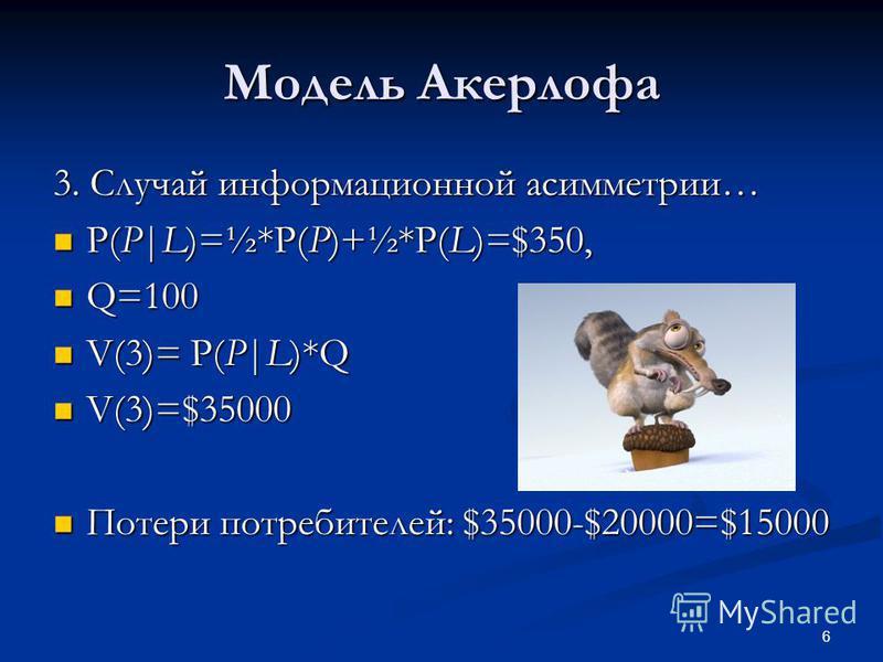 6 Модель Акерлофа 3. Случай информационной асимметрии… P(P|L)=½*P(P)+½*P(L)=$350, P(P|L)=½*P(P)+½*P(L)=$350, Q=100 Q=100 V(3)= P(P|L)*Q V(3)= P(P|L)*Q V(3)=$35000 V(3)=$35000 Потери потребителей: $35000-$20000=$15000 Потери потребителей: $35000-$2000