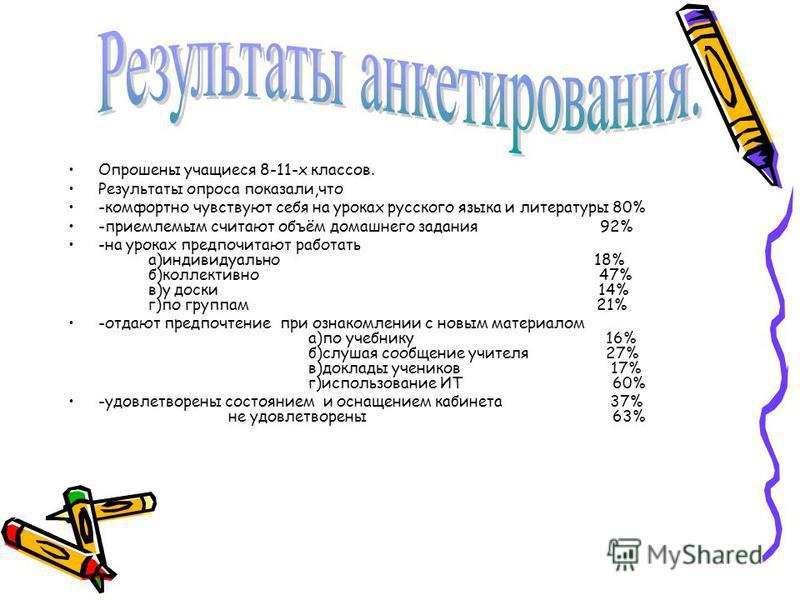 Опрошены учащиеся 8-11-х классов. Результаты опроса показали,что -комфортно чувствуют себя на уроках русского языка и литературы 80% -приемлемым считают объём домашнего задания 92% -на уроках предпочитают работать а)индивидуально 18% б)коллективно 47