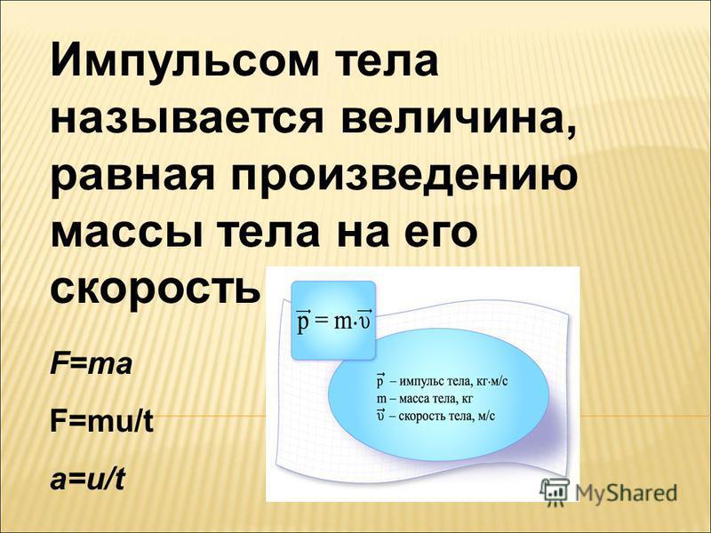 Импульсом тела называется величина, равная произведению массы тела на его скорость: F=ma F=mu/t a=u/t