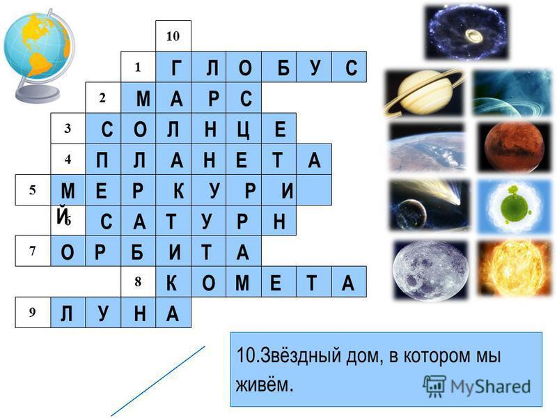 1 2 3 4 5 6 7 8 9 10 Г Л О Б У С М А Р С С О Л Н Ц Е П Л А Н Е Т А М Е Р К У Р И Й С А Т У Р Н О Р Б И Т А К О М Е Т А Л У Н А 1. Модель Земли 2. Планета, названная в честь древнеримского бога войны. 3. Ближайшая к Земле звезда. 4. Небесное тело, дви