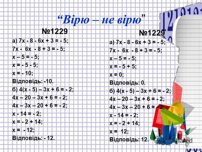 Вірю – не вірю 1229 а) 7х - 8 - 6х + 3 = - 5; 7х - 6х - 8 + 3 = - 5; х – 5 = - 5; х = - 5 - 5; х = - 10; Відповідь: -10. б) 4(х - 5) – 3х + 6 = - 2; 4х – 20 – 3х + 6 = - 2; 4х – 3х – 20 + 6 = - 2; х - 14 = - 2; х = - 2 + 14; х = - 12; Відповідь: - 12