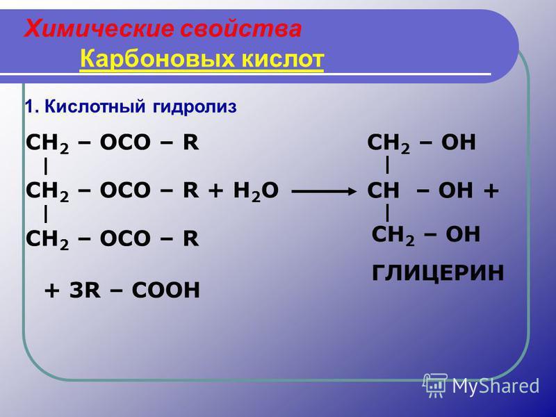 Химические свойства Карбоновых кислот 1. Кислотный гидролиз CH 2 – OCO – R CH 2 – OCO – R + H 2 O CH 2 – OCO – R CH 2 – OH CH – OH + CH 2 – OH ГЛИЦЕРИН + 3R – COOH