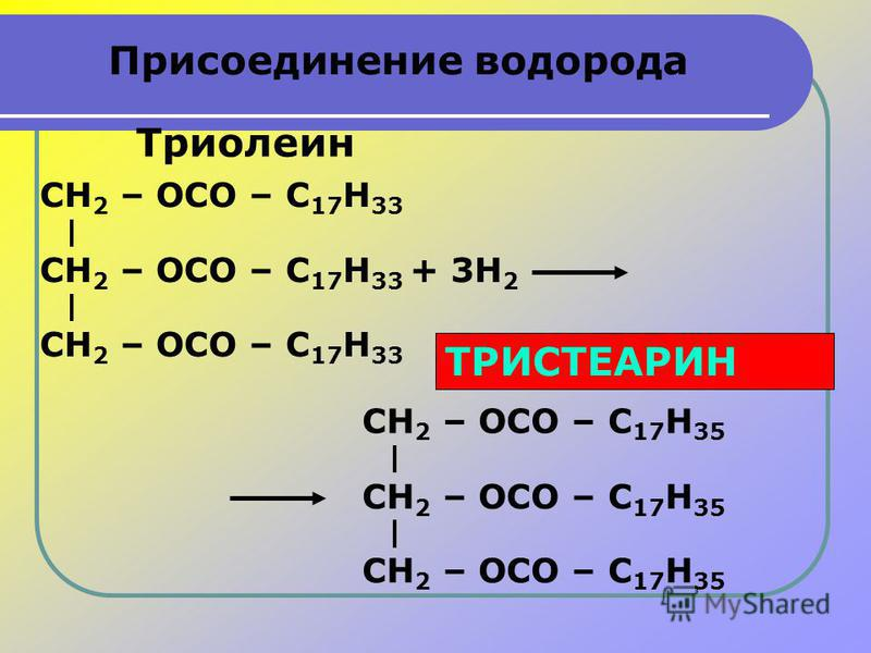 Присоединение водорода CH 2 – OCO – С 17 H 33 + 3H 2 CH 2 – OCO – С 17 H 33 CH 2 – OCO – С 17 H 33 Триолеин CH 2 – OCO – С 17 H 35 CH 2 – OCO – С 17 H 35 CH 2 – OCO – С 17 H 35 ТРИСТЕАРИН
