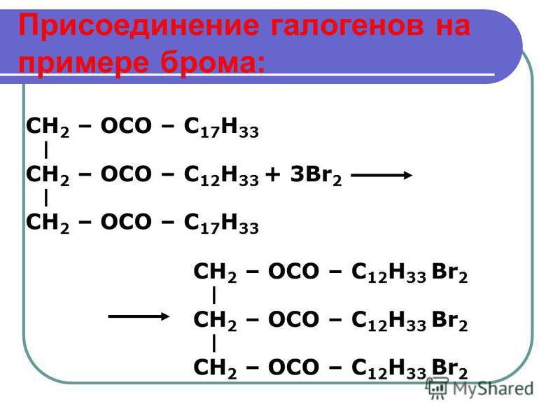 Присоединение галогенов на примере брома: CH 2 – OCO – С 12 H 33 + 3Br 2 CH 2 – OCO – С 17 H 33 CH 2 – OCO – С 12 H 33 Br 2