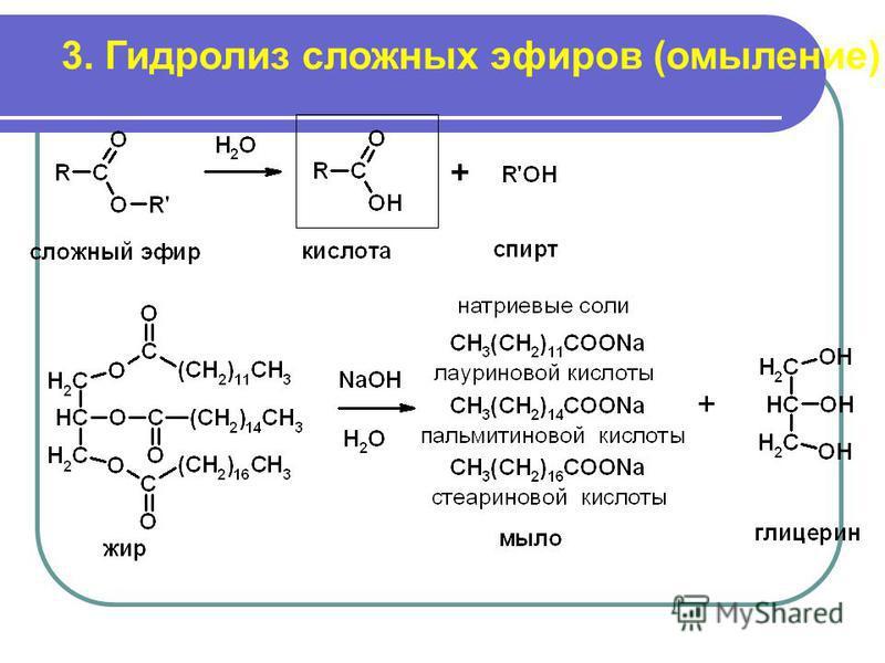 3. Гидролиз сложных эфиров (омыление)