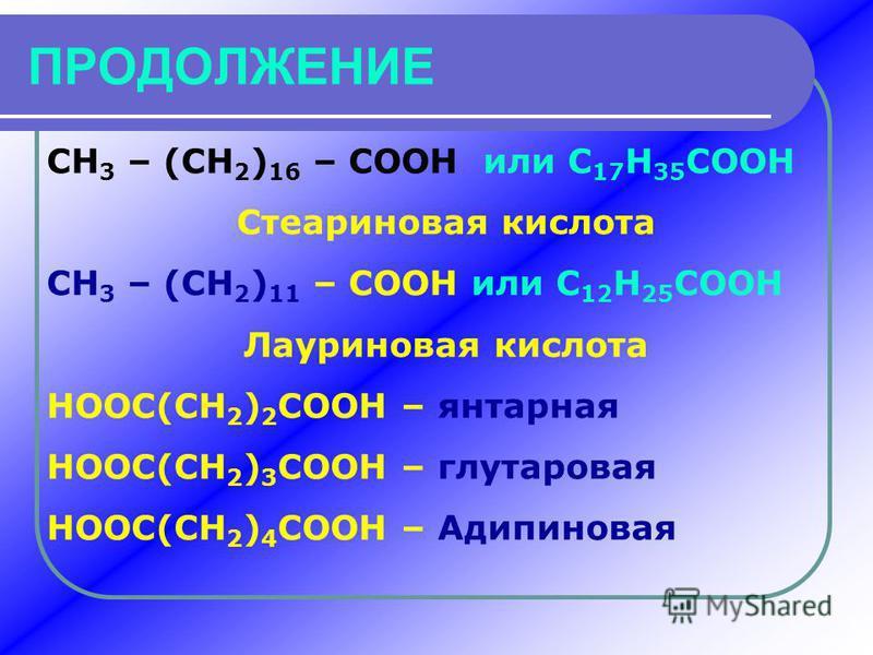ПРОДОЛЖЕНИЕ CH 3 – (CH 2 ) 16 – COOH или C 17 H 35 COOH Стеариновая кислота CH 3 – (CH 2 ) 11 – COOH или C 12 H 25 COOH Лауриновая кислота HOOC(CH 2 ) 2 COOH – янтарная HOOC(CH 2 ) 3 COOH – глутаровая HOOC(CH 2 ) 4 COOH – Адипиновая