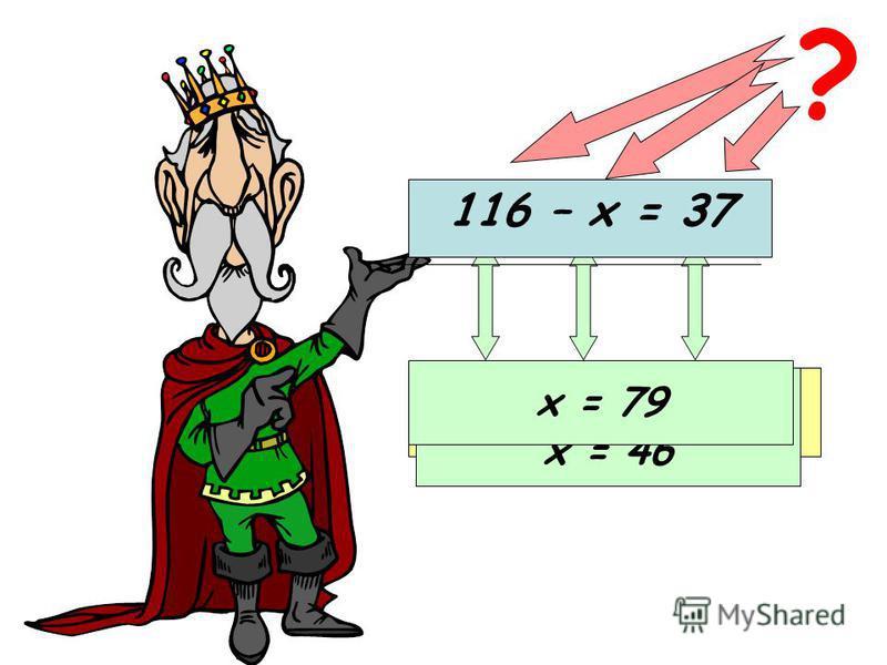 63 – х = 17 ? Уменьшаемое Неизвестное вычитаемое Разность х = 63 - 17 х = 46 116 – х = 37 х = 79