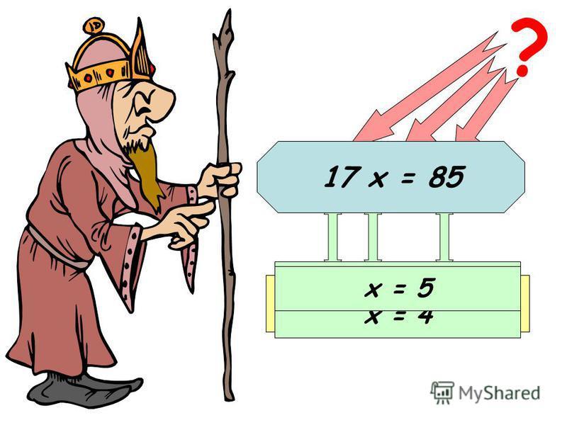 12 х = 48 ? Известный множитель Неизвестный множитель Произведение х = 48 : 12 х = 4 17 х = 85 х = 5