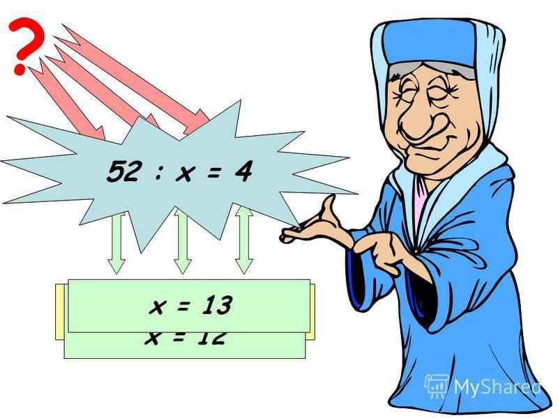 84 : х = 7 ? Делимое Неизвестный делитель Частное х = 84 : 7 х = 12 52 : х = 4 х = 13
