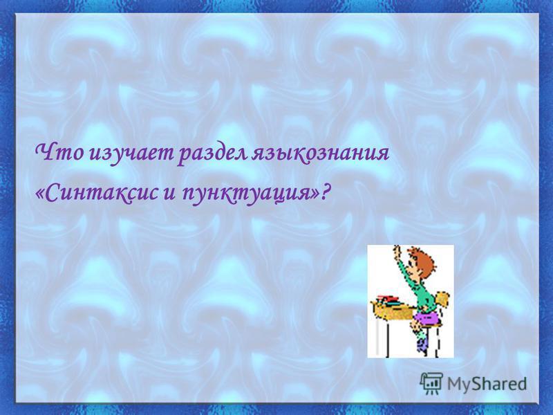 Что изучает раздел языкознания «Синтаксис и пунктуация»?