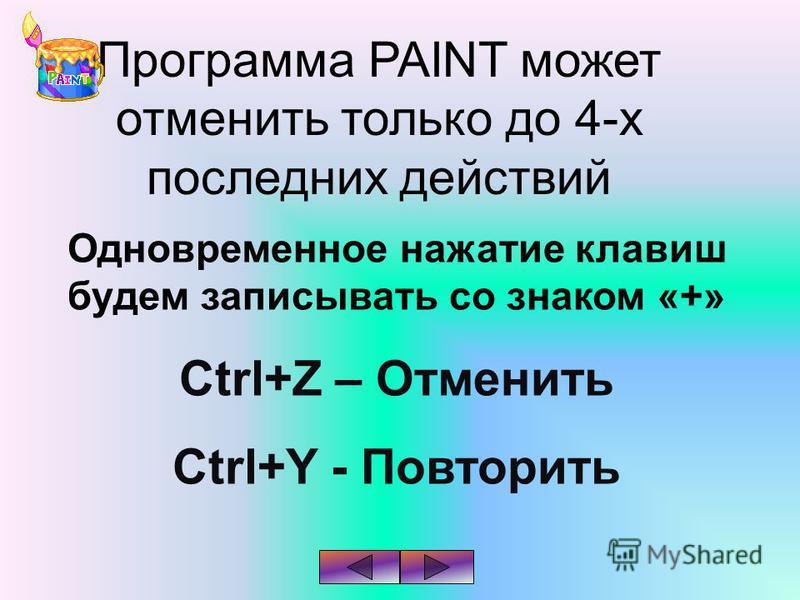 Программа PAINT может отменить только до 4-х последних действий Одновременное нажатие клавиш будем записывать со знаком «+» Ctrl+Z – Отменить Ctrl+Y - Повторить