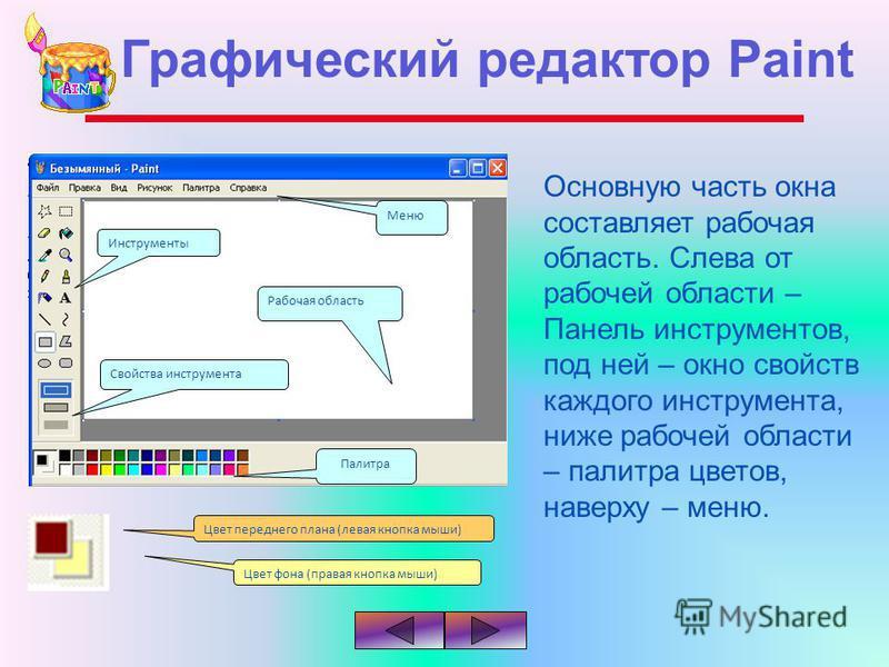 Основную часть окна составляет рабочая область. Слева от рабочей области – Панель инструментов, под ней – окно свойств каждого инструмента, ниже рабочей области – палитра цветов, наверху – меню. Инструменты Палитра Свойства инструмента Рабочая област