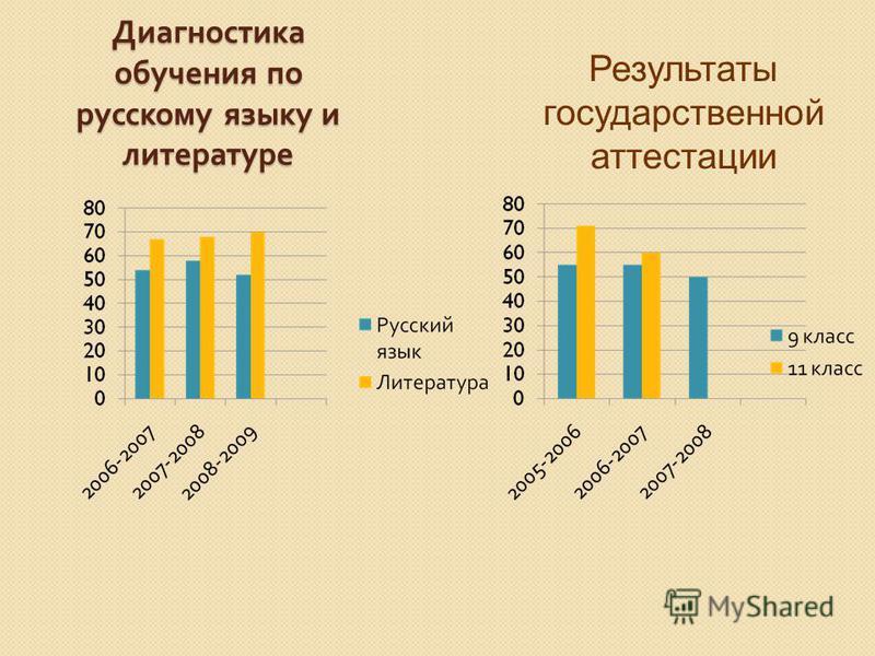 Диагностика обучения по русскому языку и литературе Результаты государственной аттестации