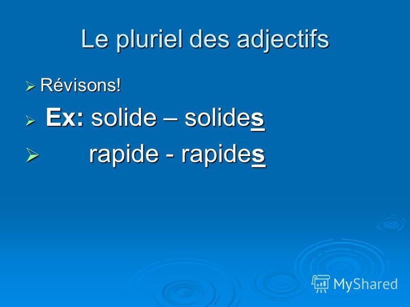 Le pluriel des adjectifs Révisons! Révisons! Ex: solide – solides Ex: solide – solides rapide - rapides rapide - rapides