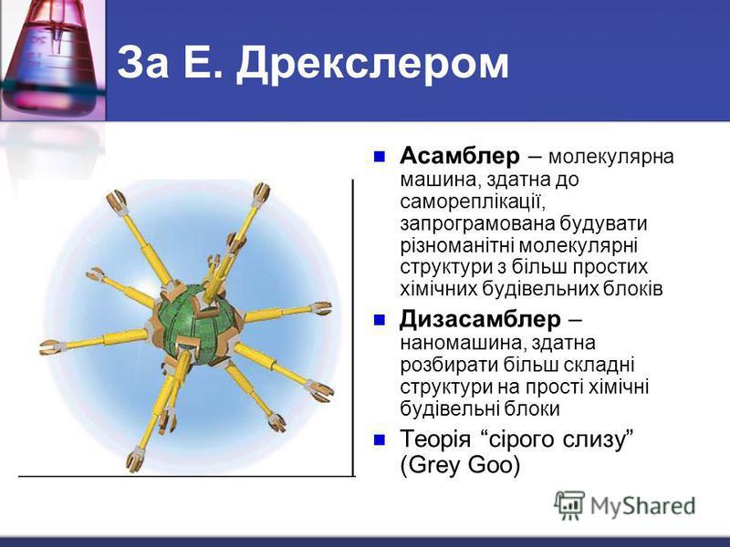 За Е. Дрекслером Асамблер – молекулярна машина, здатна до самореплікації, запрограмована будувати різноманітні молекулярні структури з більш простих хімічних будівельних блоків Дизасамблер – наномашина, здатна розбирати більш складні структури на про