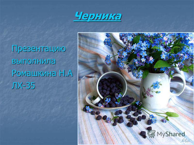 Черника Презентациювыполнила Ромашкина Н.А ЛХ-35