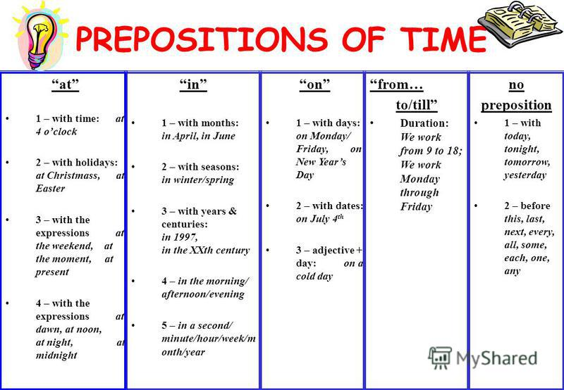 PREPOSITIONS OF TIME in 1 – with months: in April, in June 2 – with seasons: in winter/spring 3 – with years & centuries: in 1997, in the XXth century 4 – in the morning/ afternoon/evening 5 – in a second/ minute/hour/week/m onth/year at 1 – with tim