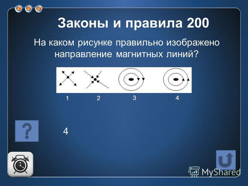 На каком рисунке правильно изображено направление магнитных линий? 12 34 4 Законы и правила 200