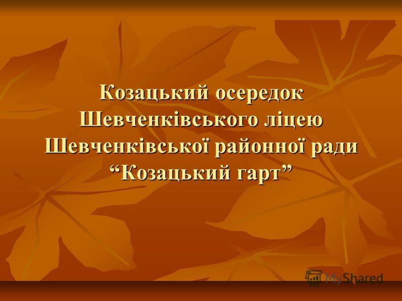 Козацький осередок Шевченківського ліцею Шевченківської районної ради Козацький гарт
