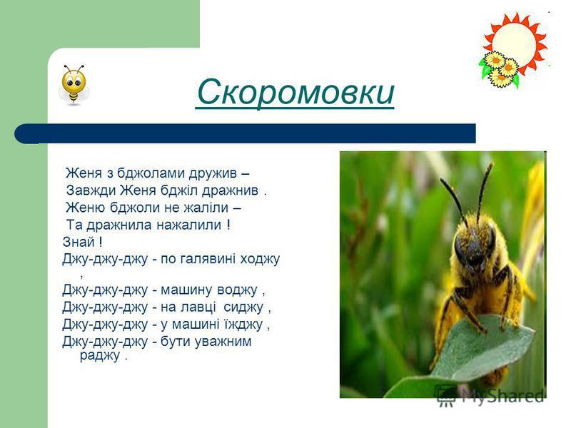 Скоромовки Женя з бджолами дружив – Завжди Женя бджіл дражнив. Женю бджоли не жаліли – Та дражнила нажалили ! Знай ! Джу-джу-джу - по галявині ходжу, Джу-джу-джу - машину воджу, Джу-джу-джу - на лавці сиджу, Джу-джу-джу - у машині їжджу, Джу-джу-джу