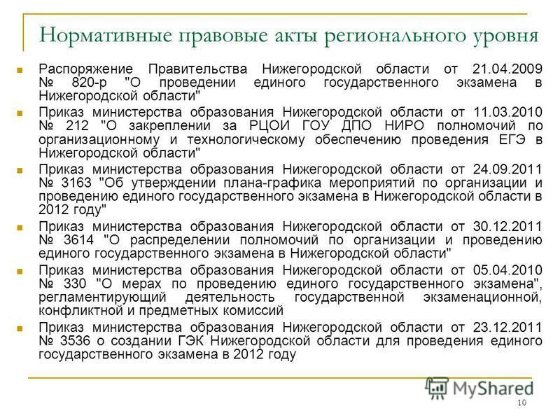 10 Нормативные правовые акты регионального уровня Распоряжение Правительства Нижегородской области от 21.04.2009 820-р
