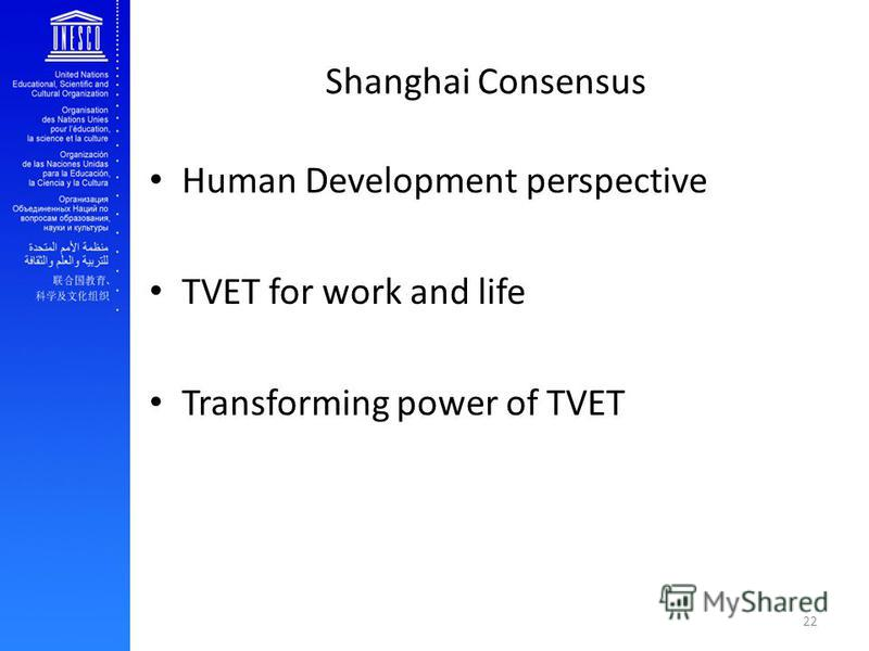 Shanghai Consensus Human Development perspective TVET for work and life Transforming power of TVET 22