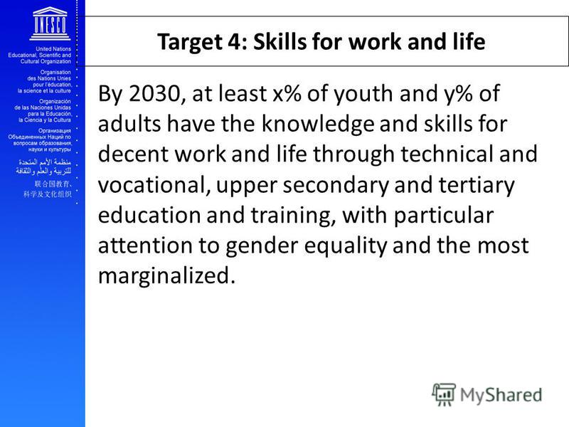 Target 4: Skills for work and life By 2030, at least x% of youth and y% of adults have the knowledge and skills for decent work and life through technical and vocational, upper secondary and tertiary education and training, with particular attention