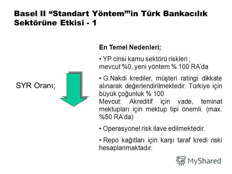 Basel II Standart Yöntemin Türk Bankacılık Sektörüne Etkisi - 1 SYR Oranı; En Temel Nedenleri; YP cinsi kamu sektörü riskleri ; mevcut %0, yeni yöntem % 100 RAda G.Nakdi krediler, müşteri ratingi dikkate alınarak değerlendirilmektedir. Türkiye için b