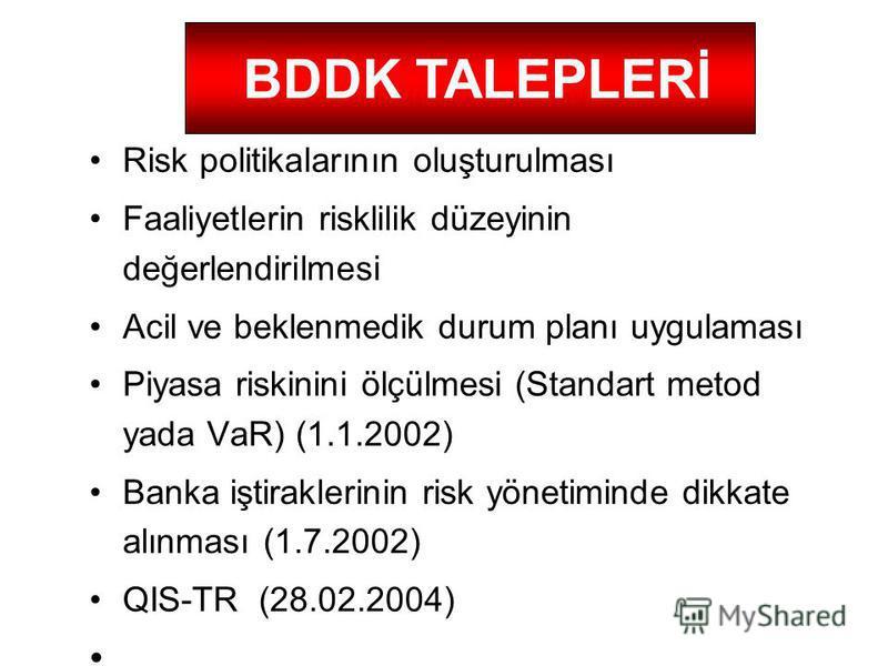 Risk politikalarının oluşturulması Faaliyetlerin risklilik düzeyinin değerlendirilmesi Acil ve beklenmedik durum planı uygulaması Piyasa riskinini ölçülmesi (Standart metod yada VaR) (1.1.2002) Banka iştiraklerinin risk yönetiminde dikkate alınması (