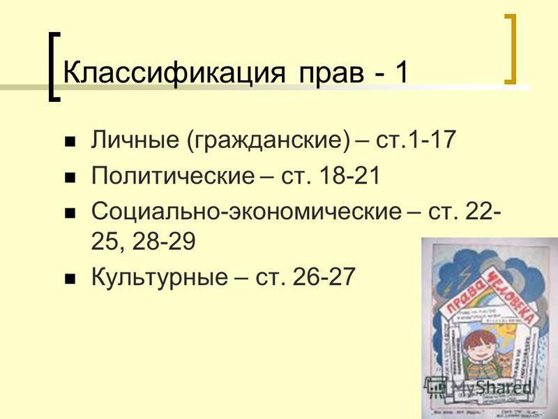 Классификация прав - 1 Личные (гражданские) – ст.1-17 Политические – ст. 18-21 Социально-экономические – ст. 22- 25, 28-29 Культурные – ст. 26-27