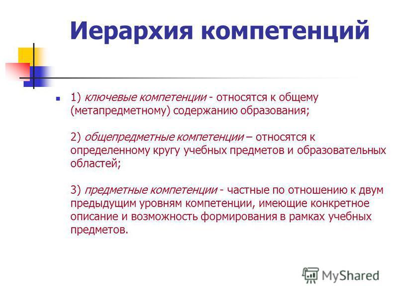Иерархия компетенций 1) ключевые компетенции - относятся к общему (мета предметному) содержанию образования; 2) общепредметные компетенции – относятся к определенному кругу учебных предметов и образовательных областей; 3) предметные компетенции - час