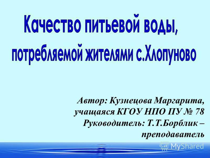 1 Автор: Кузнецова Маргарита, учащаяся КГОУ НПО ПУ 78 Руководитель: Т.Т.Борблик – преподаватель
