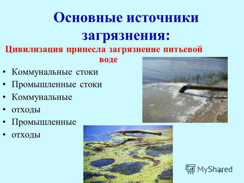 14 Основные источники загрязнения: Цивилизация принесла загрязнение питьевой воде Коммунальные стоки Промышленные стоки Коммунальные отходы Промышленные отходы