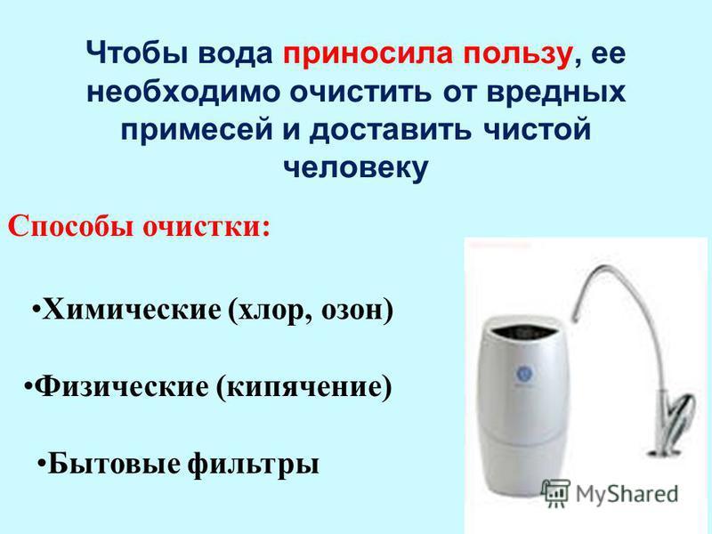 15 Чтобы вода приносила пользу, ее необходимо очистить от вредных примесей и доставить чистой человеку Химические (хлор, озон) Физические (кипячение) Бытовые фильтры Способы очистки: