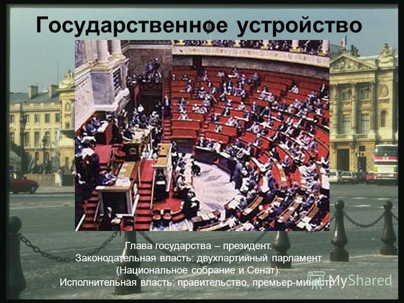 Государственное устройство Глава государства – президент. Законодательная власть: двухпартийный парламент (Национальное собрание и Сенат). Исполнительная власть: правительство, премьер-министр.