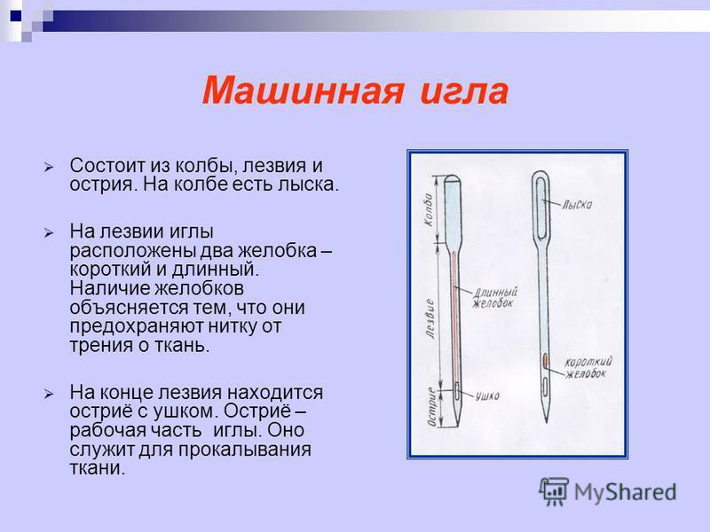 Машинная игла Состоит из колбы, лезвия и острия. На колбе есть лыска. На лезвии иглы расположены два желобка – короткий и длинный. Наличие желобков объясняется тем, что они предохраняют нитку от трения о ткань. На конце лезвия находится остриё с ушко