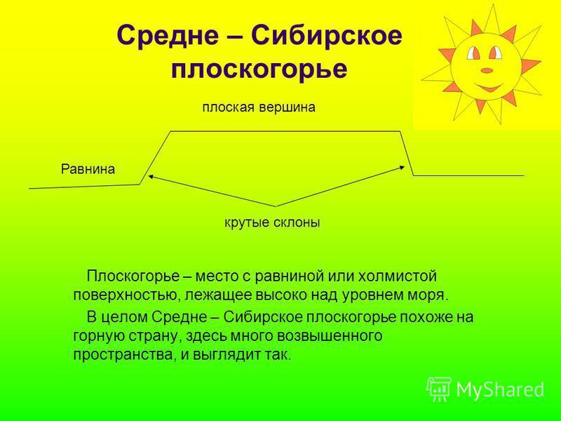 Средне – Сибирское плоскогорье Плоскогорье – место с равниной или холмистой поверхностью, лежащее высоко над уровнем моря. В целом Средне – Сибирское плоскогорье похоже на горную страну, здесь много возвышенного пространства, и выглядит так. Равнина