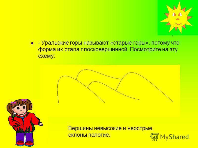 - Уральские горы называют «старые горы», потому что форма их стала плосковершинной. Посмотрите на эту схему: Вершины невысокие и неострые, склоны пологие.