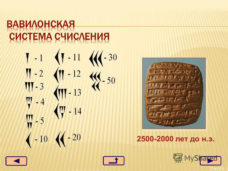 13 из 21 2500-2000 лет до н.э.