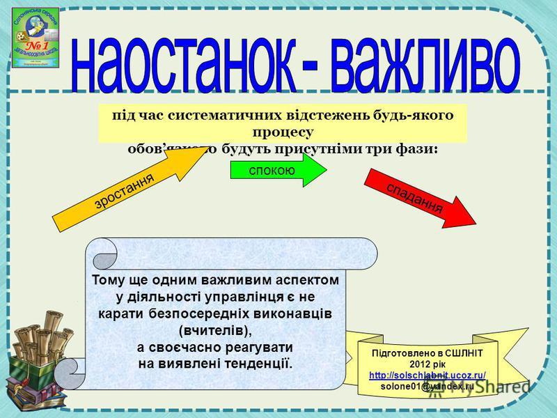 Підготовлено в СШЛНІТ 2012 рік http://solschlabnit.ucoz.ru/ solone01@yandex.ru під час систематичних відстежень будь-якого процесу обовязково будуть присутніми три фази: зростання спокою спадання Тому ще одним важливим аспектом у діяльності управлінц