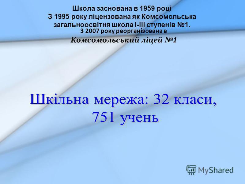 Школа заснована в 1959 році З 1995 року ліцензована як Комсомольська загальноосвітня школа І-ІІІ ступенів 1. З 2007 року реорганізована в Комсомольський ліцей 1