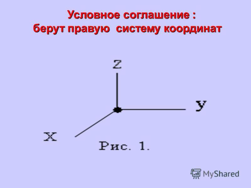Условное соглашение : берут правую систему координат берут правую систему координат