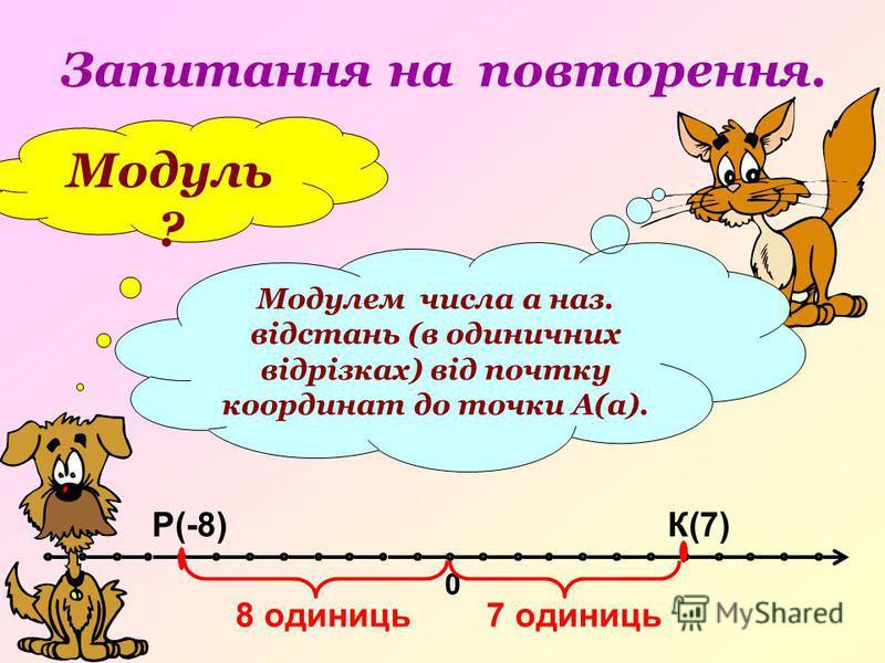 Запитання на повторення. Модуль ? Модулем числа а наз. відстань (в одиничних відрізках) від почтку координат до точки А(а). 0 К(7)Р(-8) 8 одиниць7 одиниць