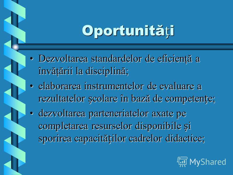 Oportunităi Dezvoltarea standardelor de eficienţă a învăţării la disciplină;Dezvoltarea standardelor de eficienţă a învăţării la disciplină; elaborarea instrumentelor de evaluare a rezultatelor colare în bază de competene;elaborarea instrumentelor de
