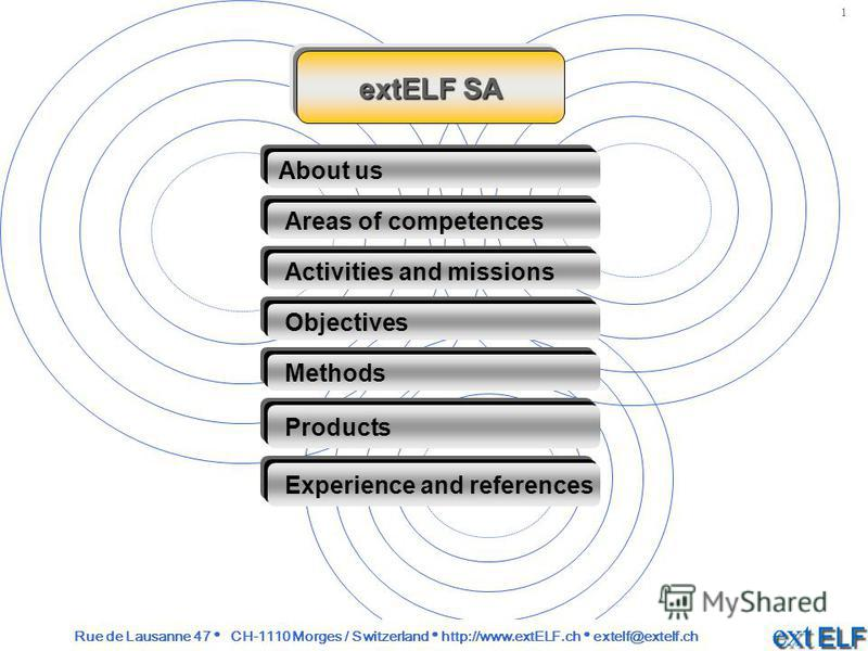extELF SA About us Areas of competences Activities and missions Objectives Methods Experience and references Products Rue de Lausanne 47 CH-1110 Morges / Switzerland http://www.extELF.ch extelf@extelf.ch 1