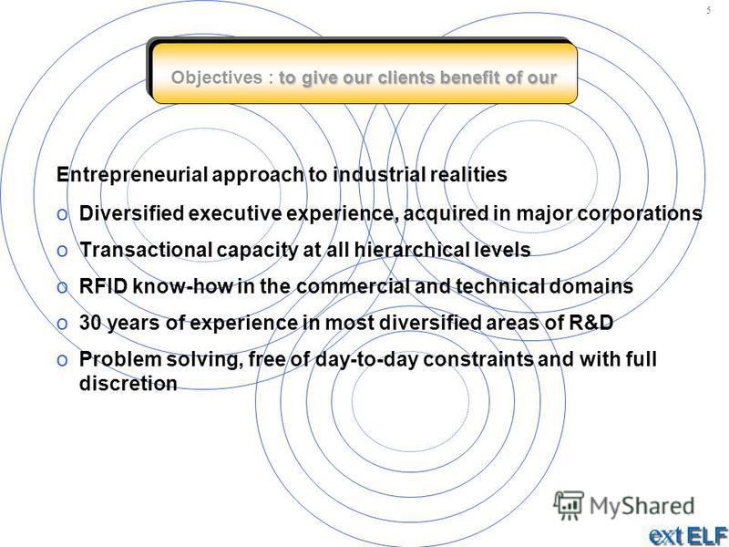 to give our clients benefit of our Objectives : to give our clients benefit of our Entrepreneurial approach to industrial realities o Diversified executive experience, acquired in major corporations o Transactional capacity at all hierarchical levels