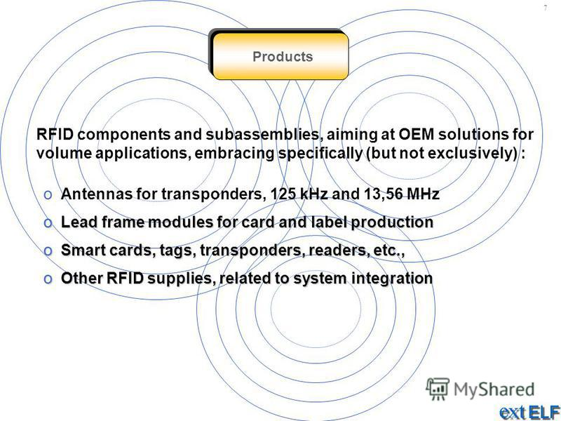 Products RFID components and subassemblies, aiming at OEM solutions for volume applications, embracing specifically (but not exclusively) : o Antennas for transponders, 125 kHz and 13,56 MHz o Lead frame modules for card and label production o Smart