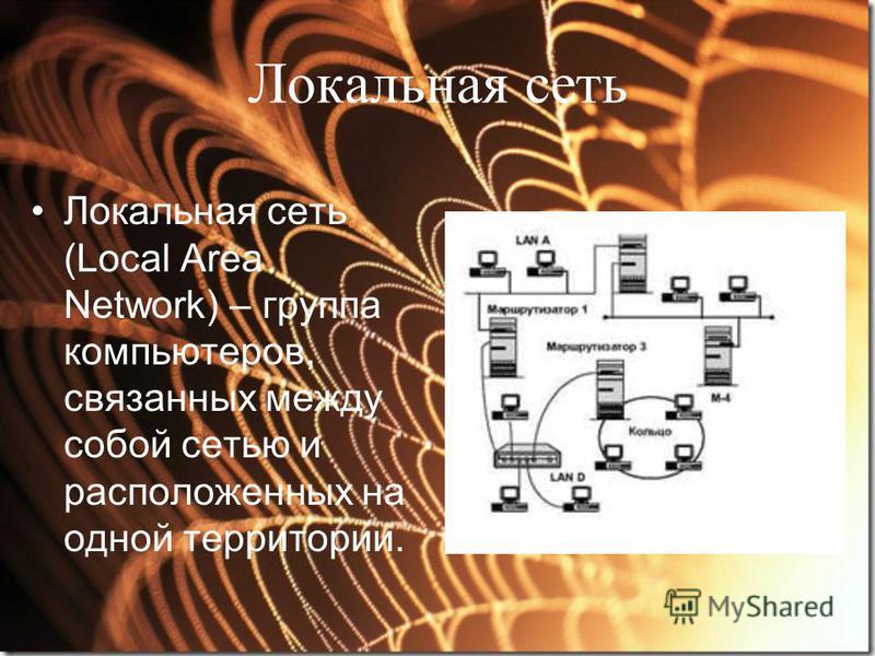 Локальная сеть Локальная сеть (Local Area Network) – группа компьютеров, связанных между собой сетью и расположенных на одной территории.