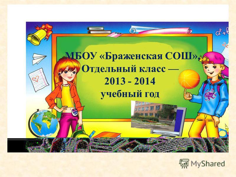 МБОУ «Браженская СОШ», Отдельный класс 2013 - 2014 учебный год